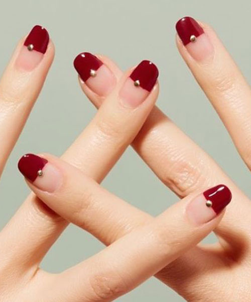 美甲图片红色系列 美甲酒红色款式图片