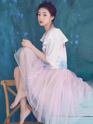 仙女裙款式图片 网纱刺绣立体扎花
