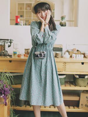 碎花连衣裙搭配图片 娃娃百褶小立领翻领裙
