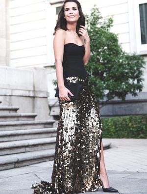亮片裙子搭配效果图 更气质更优雅